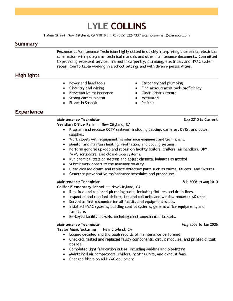 Sample Resume Maintenance Technician Resume Sample
