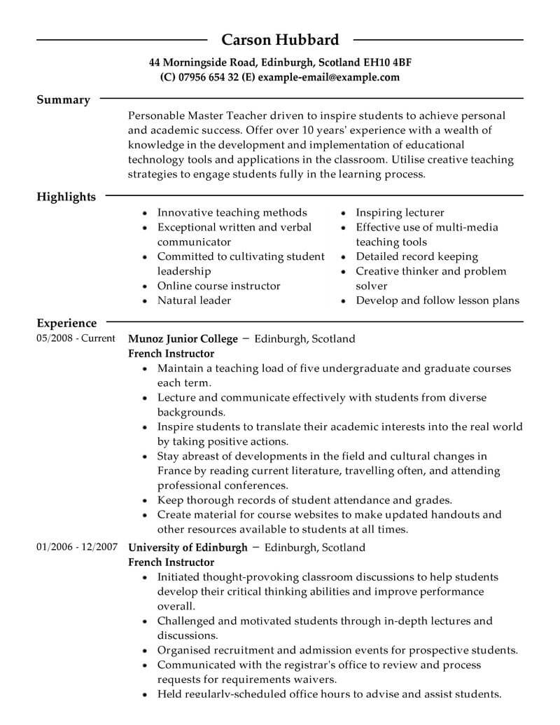 master student resume examples