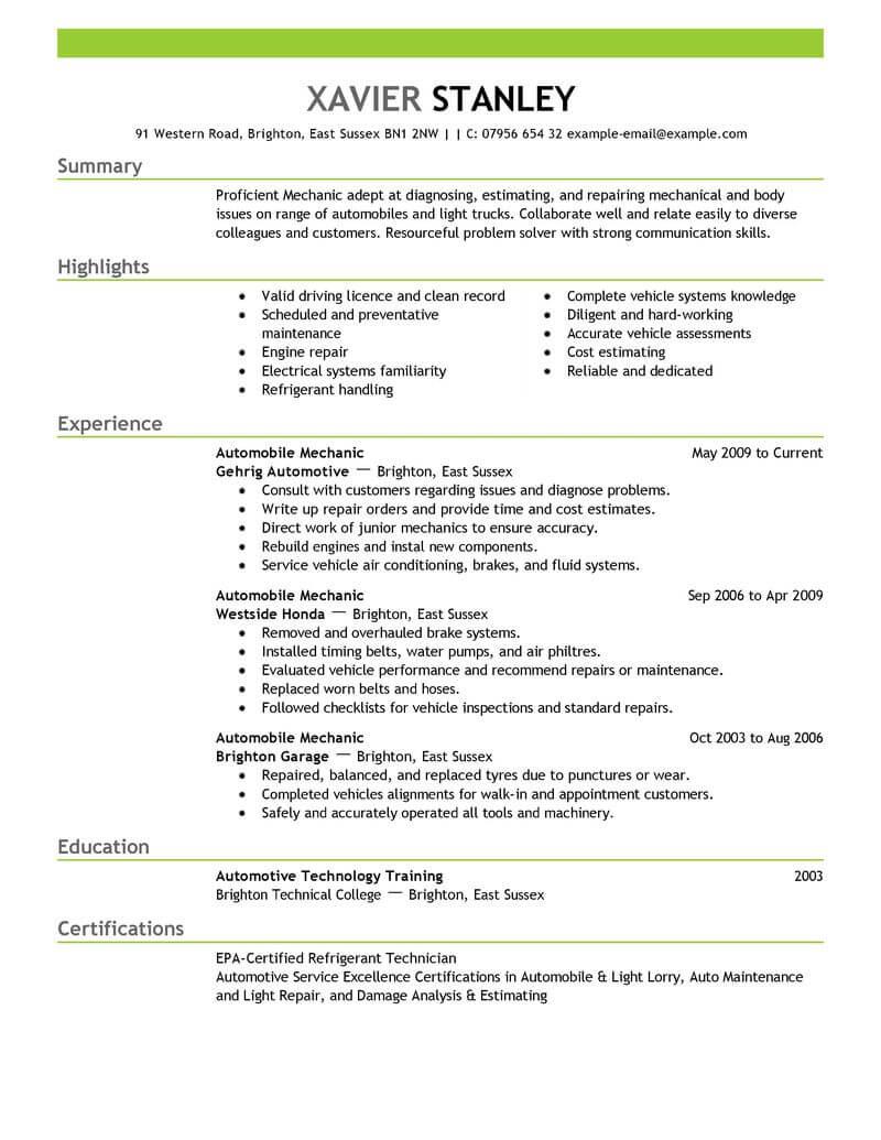 resume examples maintenance mechanic
