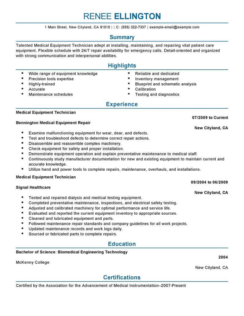 electronic resume example