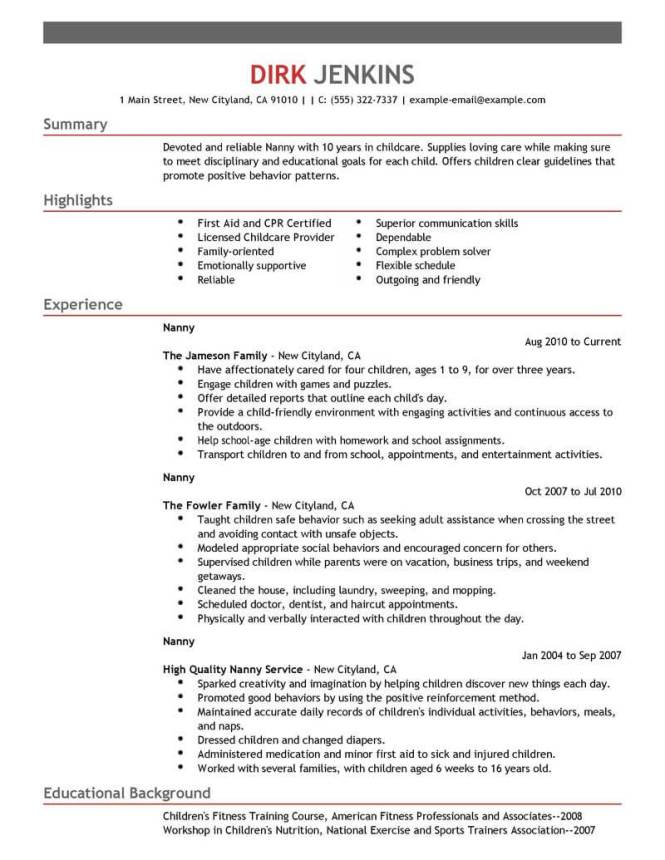 best nanny resume example livecareer - Nanny Resumes Examples