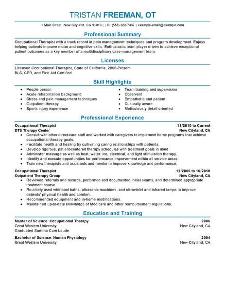 occupational therapist resume objective examples