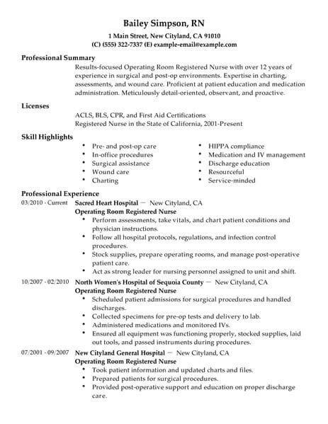 Best Operating Room Registered Nurse Resume Example