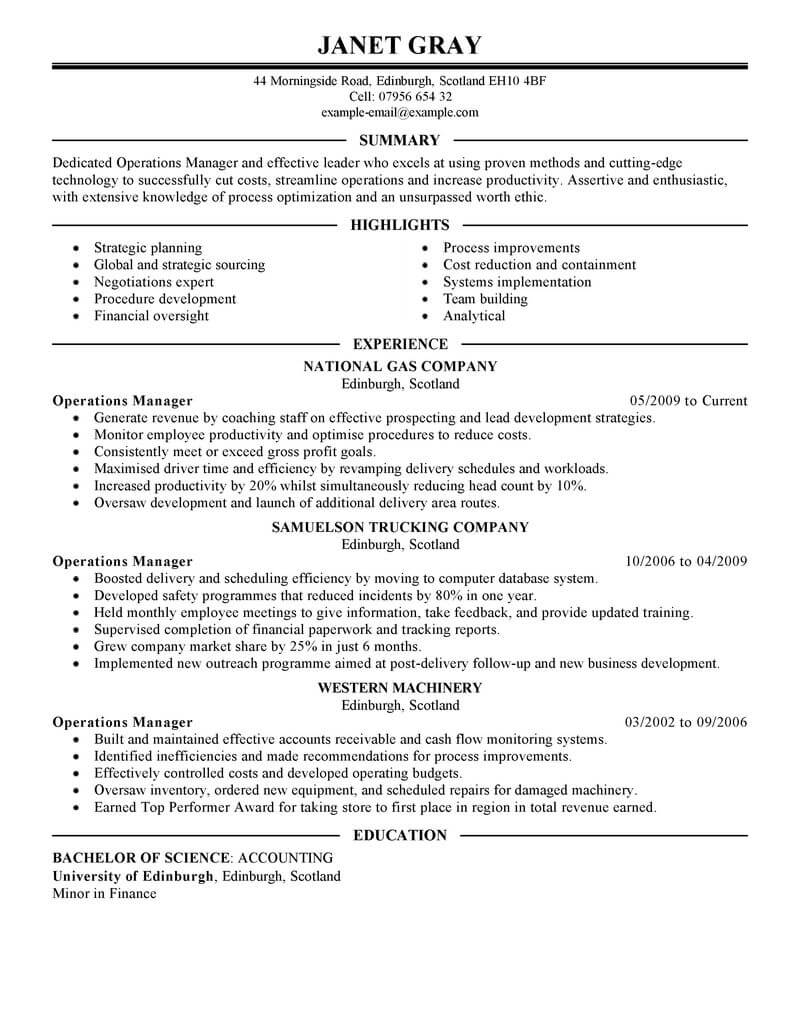 resume examples for operations manager - April.onthemarch.co