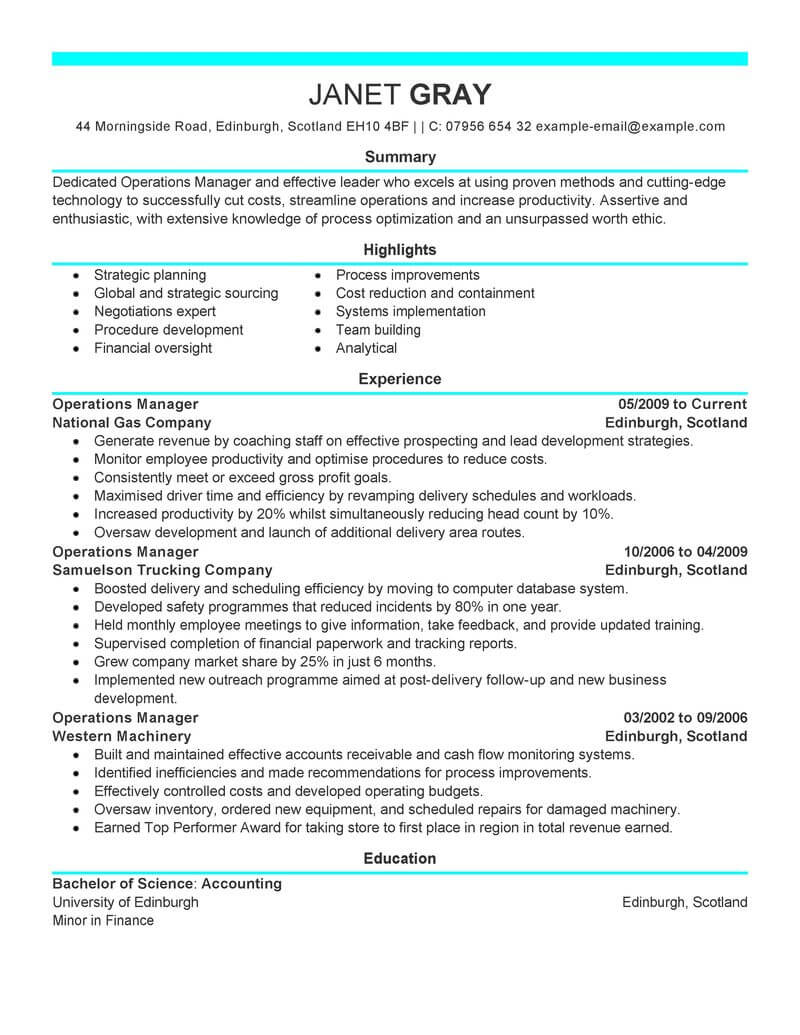 best operations manager resume example