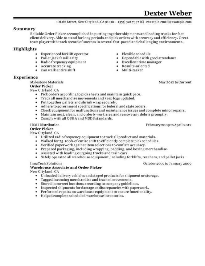 Order Picker Resume Sample - Resume Sample