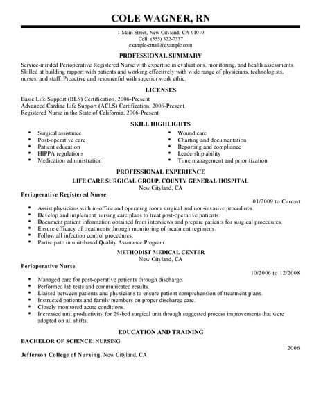 perioperative nursing resume sample