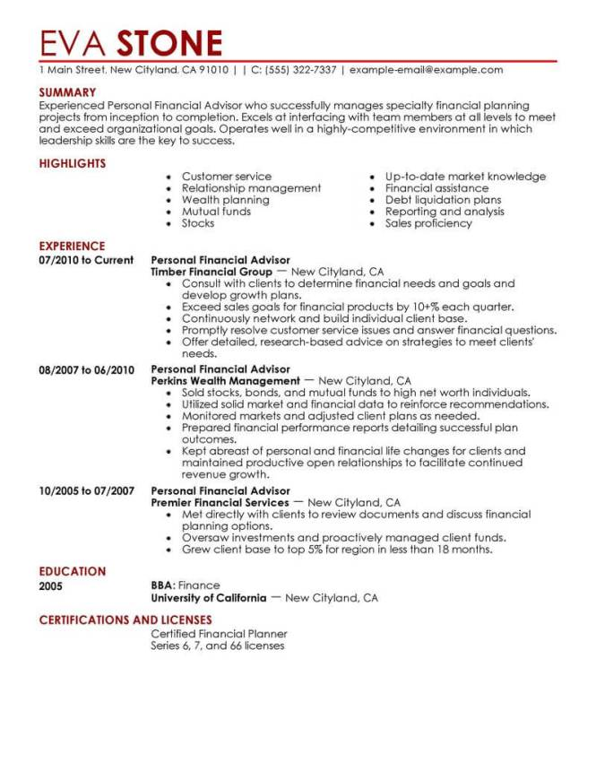 Financial Advisor Resume Example  Resume Sample