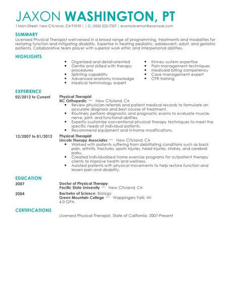 outpatient pediatric physical therapy resume examples