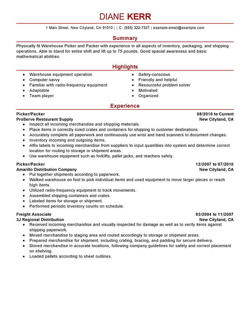 Best Picker And Packer Resume Example LiveCareer