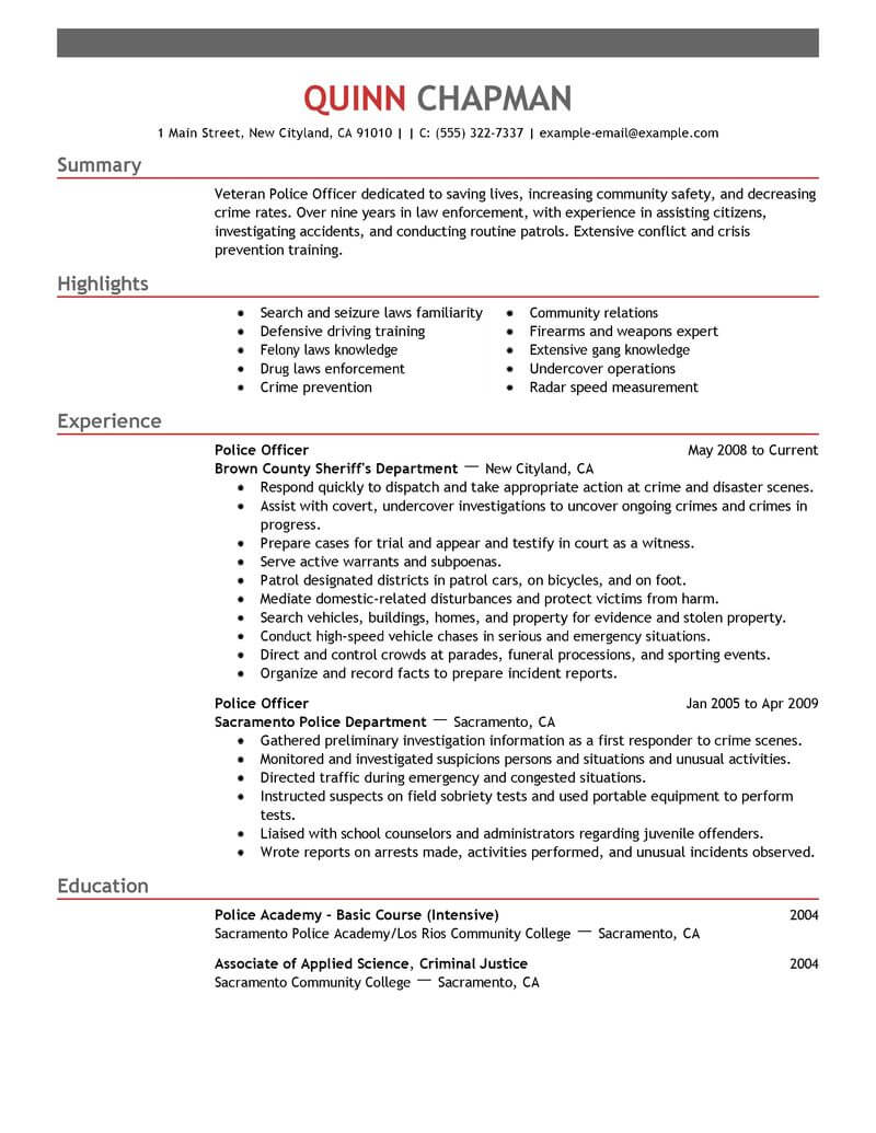 best resume examples for police officers