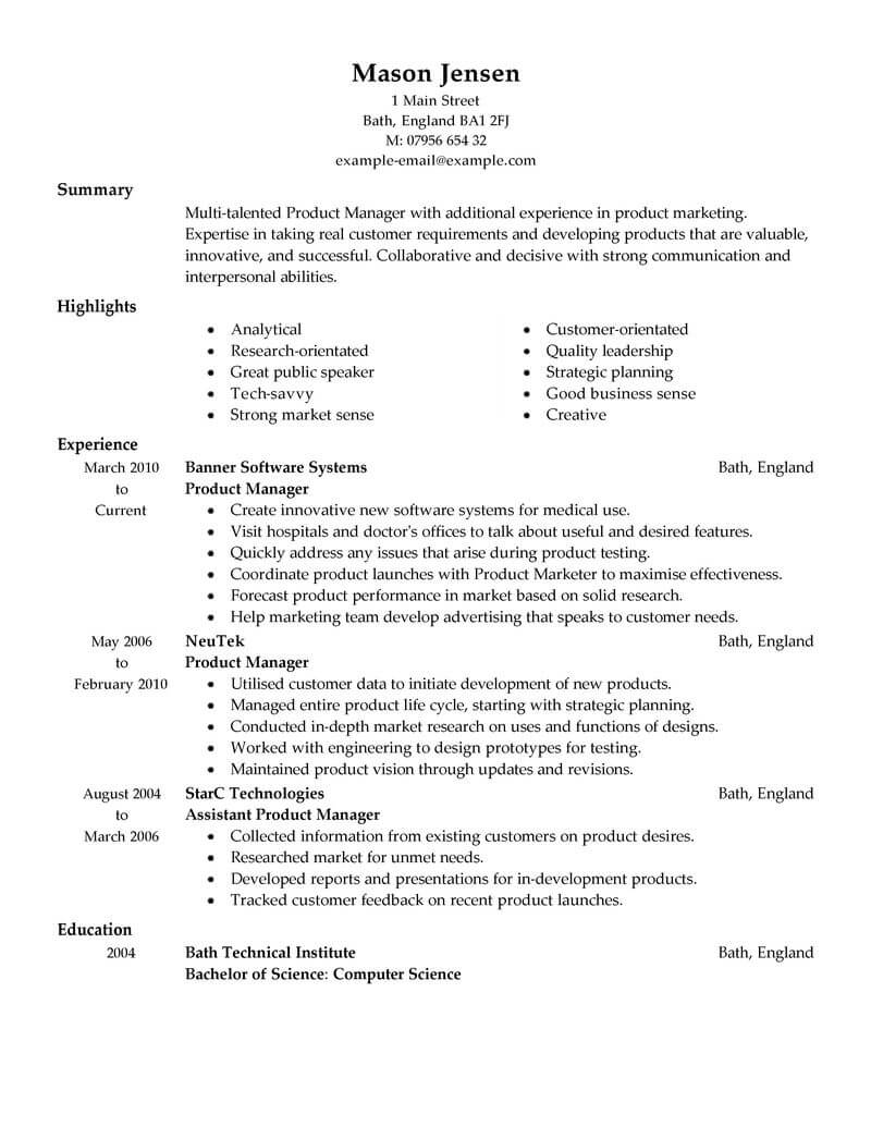 Best Product Manager Resume Example LiveCareer