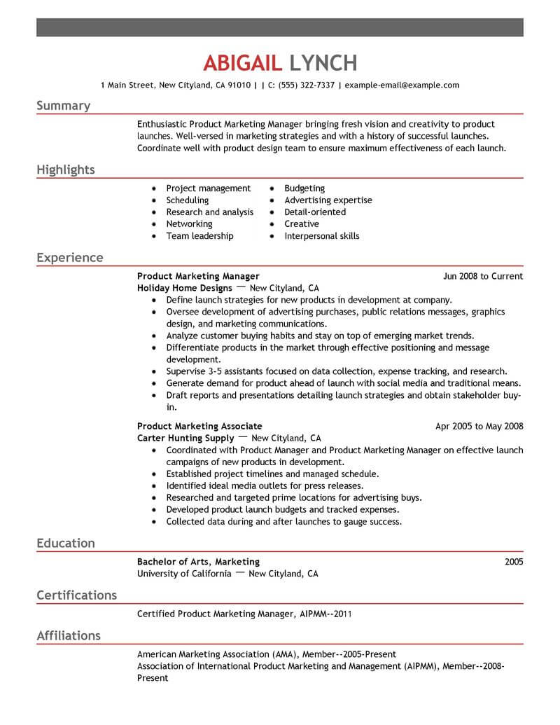 Best Product Marketer Resume Example LiveCareer