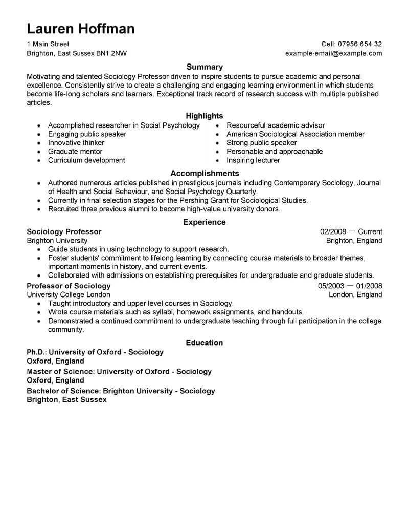 sample history professor resume