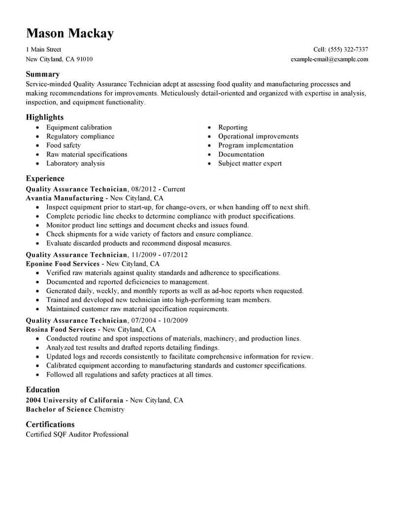 resume examples food quality engineer