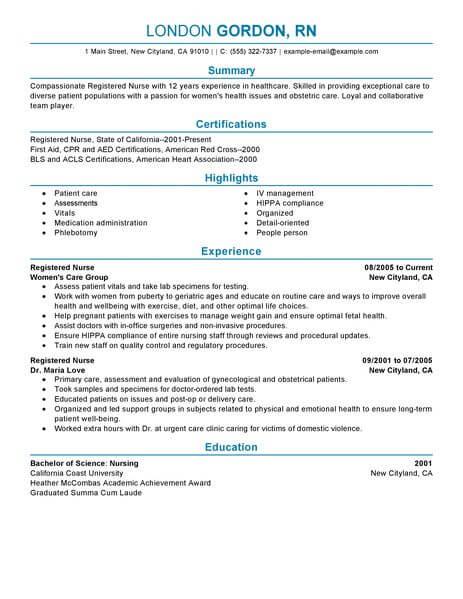 Registered Nurse Rn Resume Sample