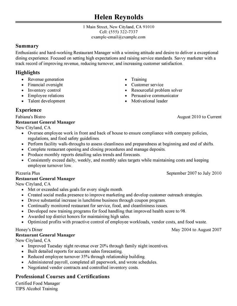 resume samples restaurants