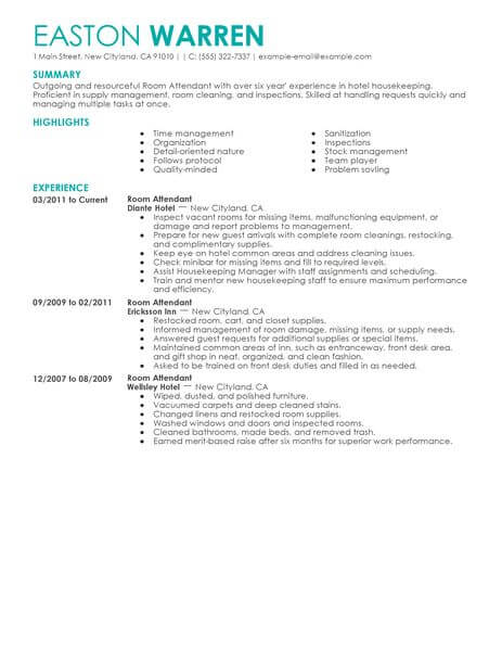 room attendant resume no experience