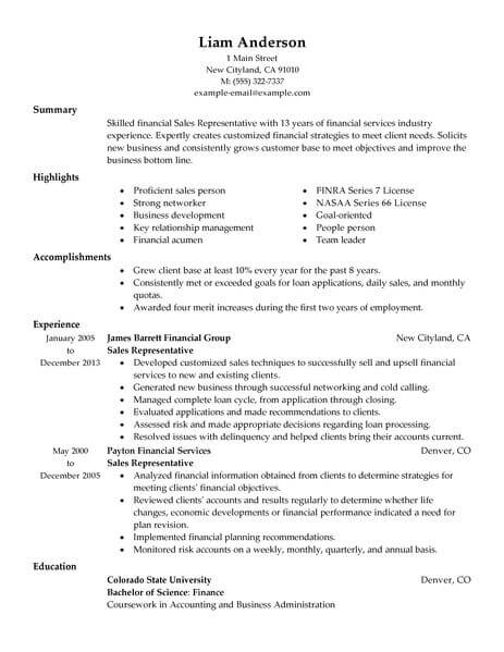 sales representative resume - April.onthemarch.co