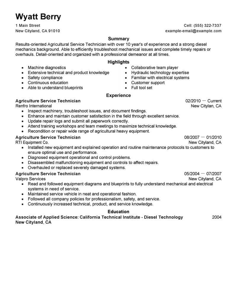 10 Amazing Agriculture & Environment Resume Examples