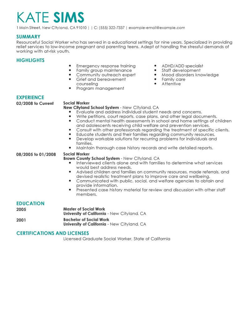 resume objective statements for social workers