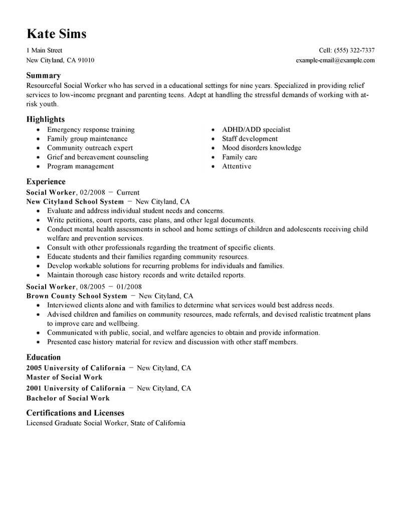 bsw social work resume examples