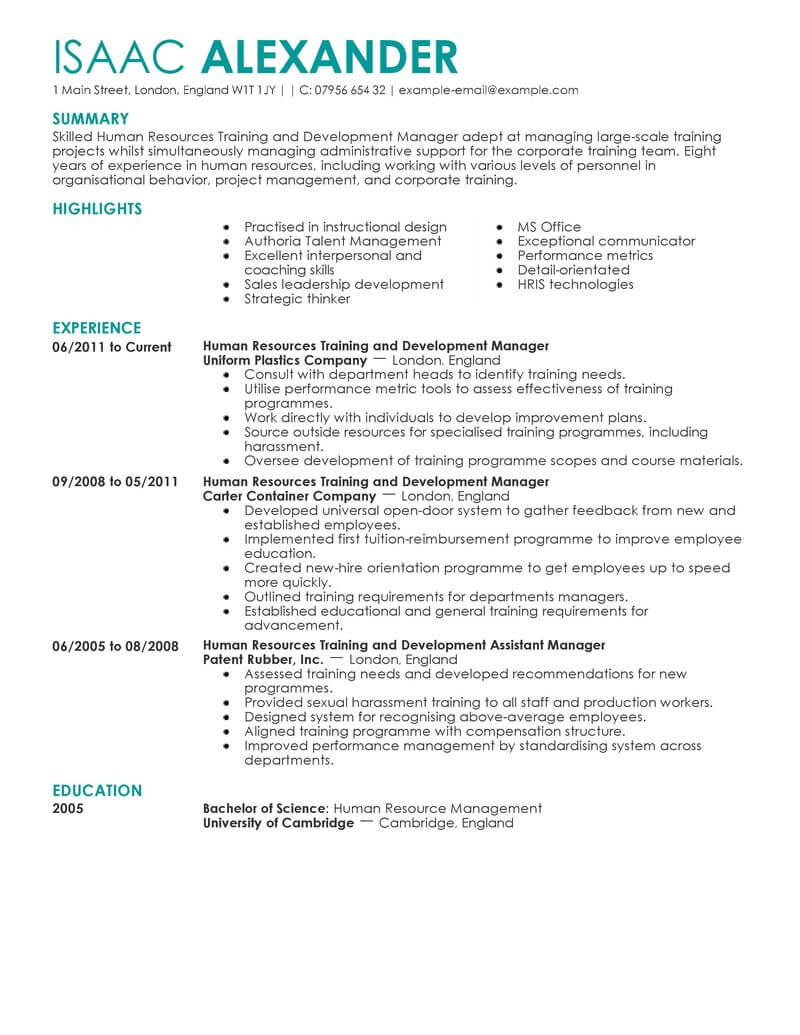 general resume objective examples for human resources
