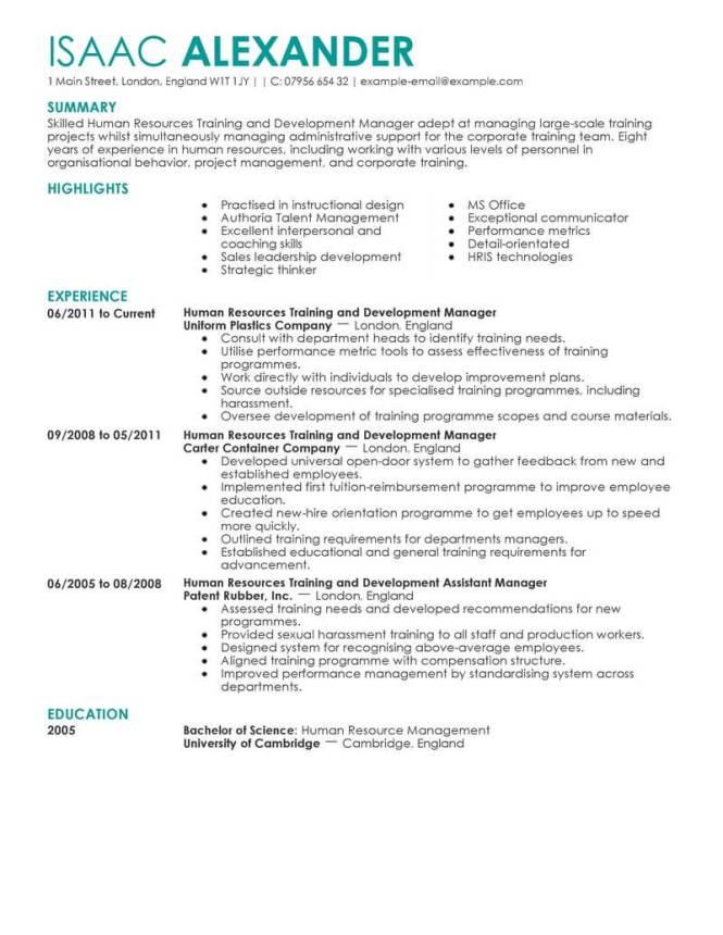 human resource resume