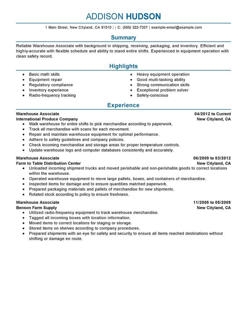 resume summary warehouse examples