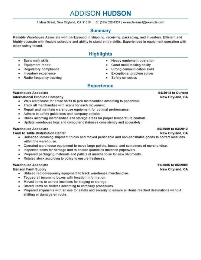 Warehouse Resume Sample - Resume Sample