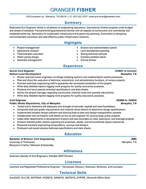 civil construction resume samples