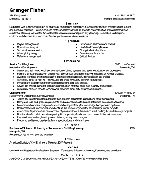 structural engineer resume sample pdf