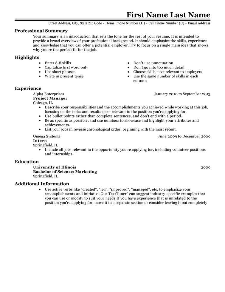 sample resume for experienced candidates