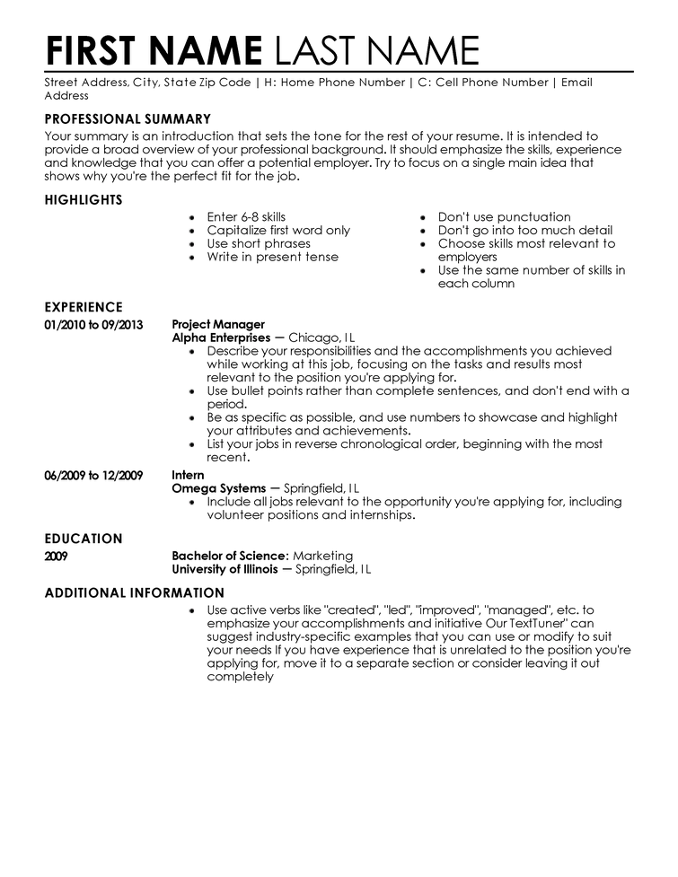 resume entry level