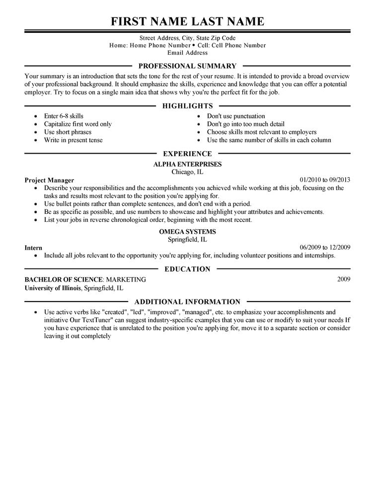 cv template for management position