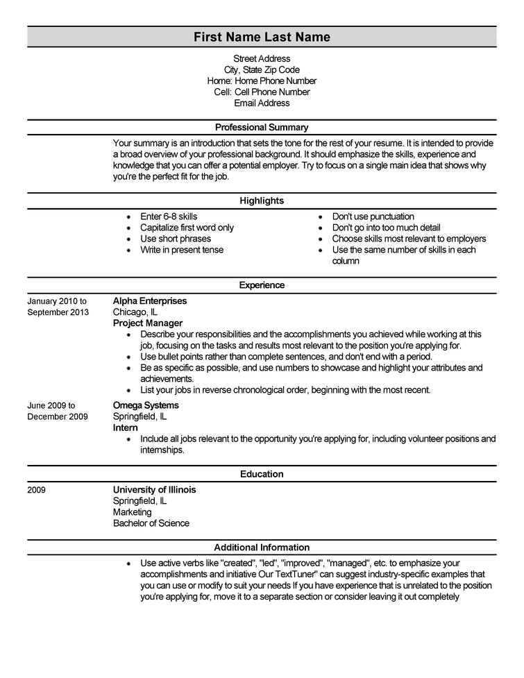 Entry Level Resumes Examples