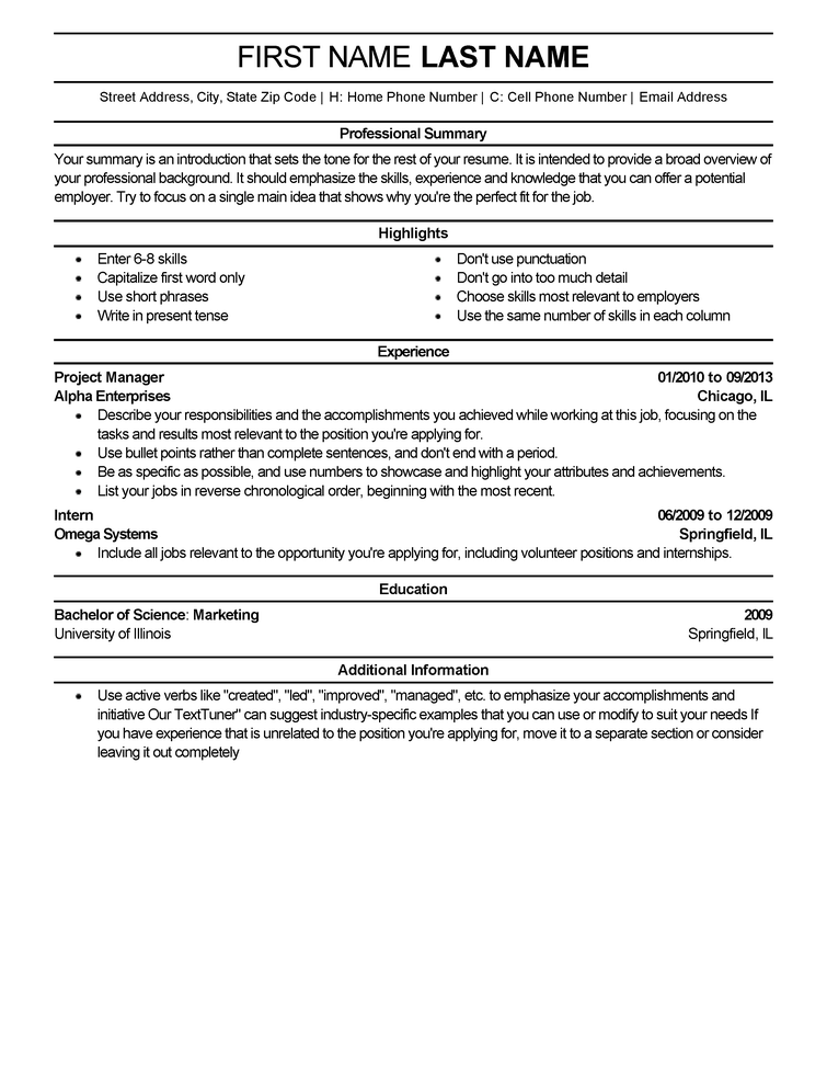 US Resume Template  LiveCareer