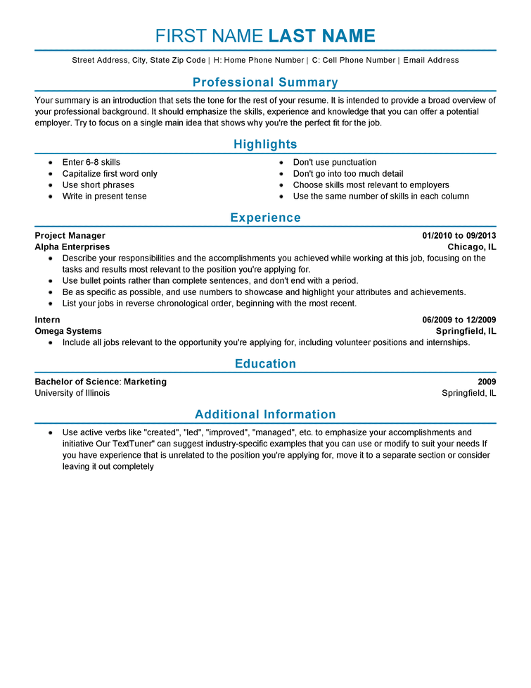 resume templates for experienced