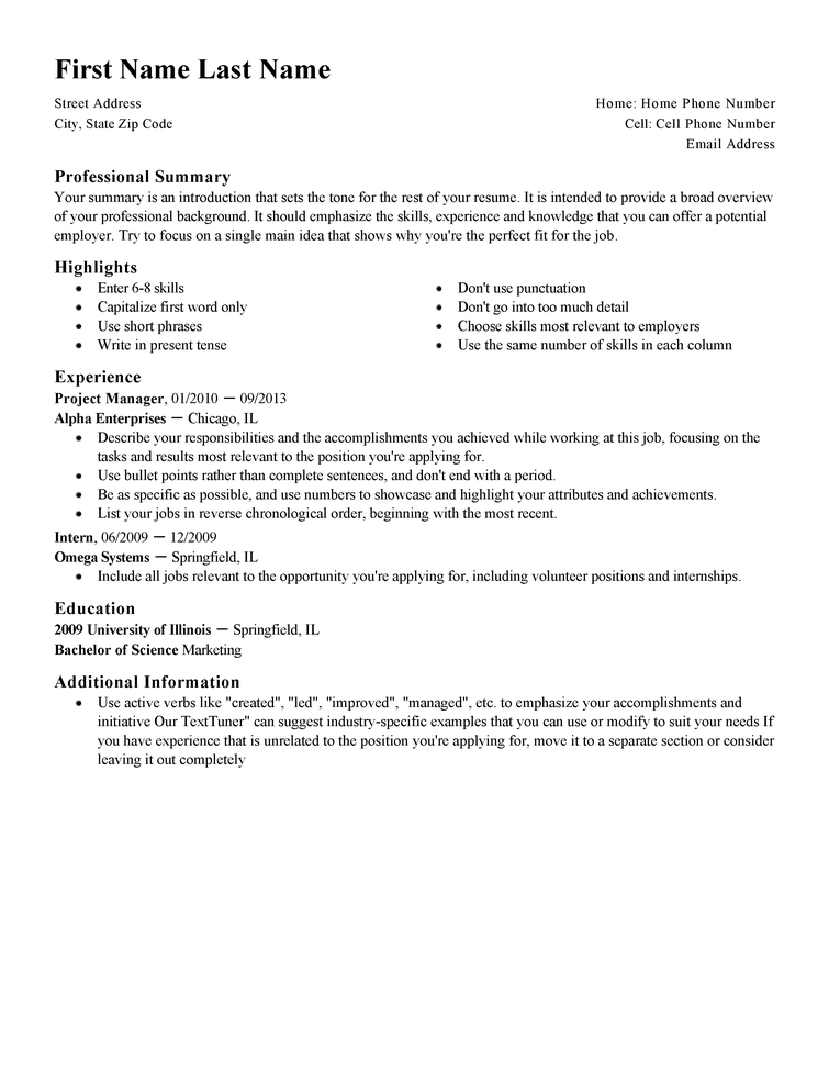 resume examples for starting a new career