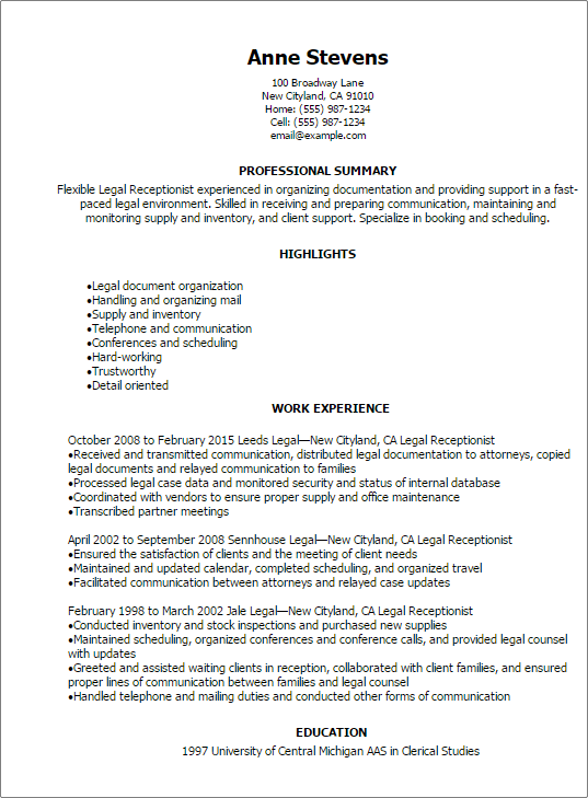 summary for resume examples receptionist