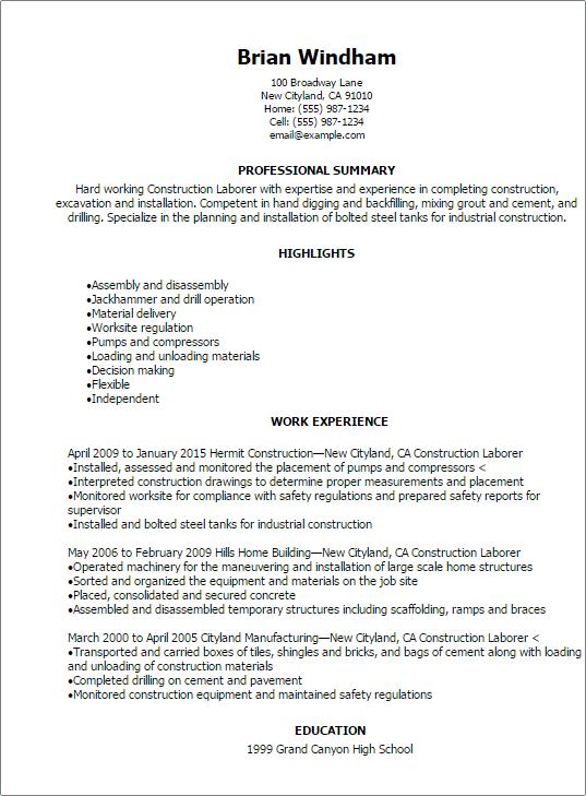 construction laborer resume sample
