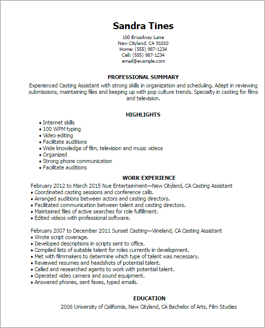 resume summary example for music industry