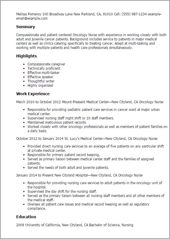 nursing resume description