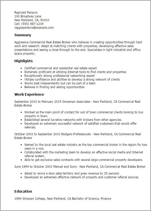 commercial real estate resume samples