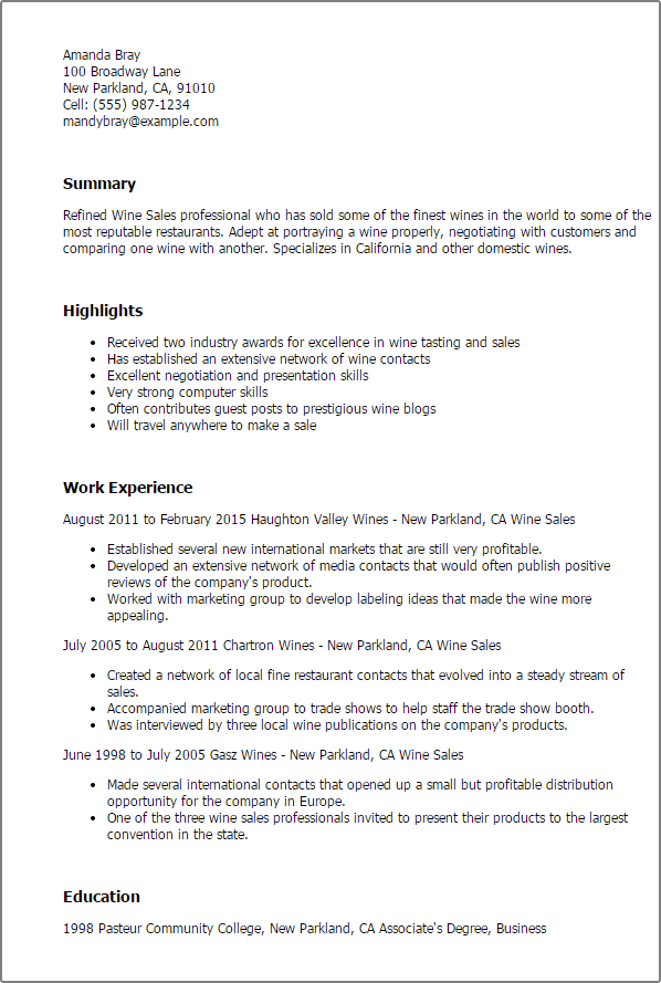 Wine Sales Manager Cover Letter - Cover Letter Resume Ideas ...