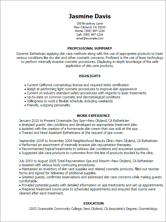 sample resume for salon job