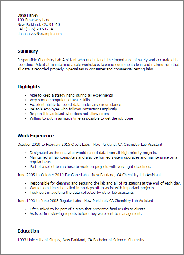 lab assistant resume example