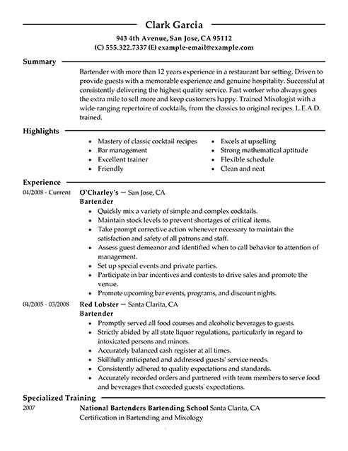 restaraunt bartender resume sample
