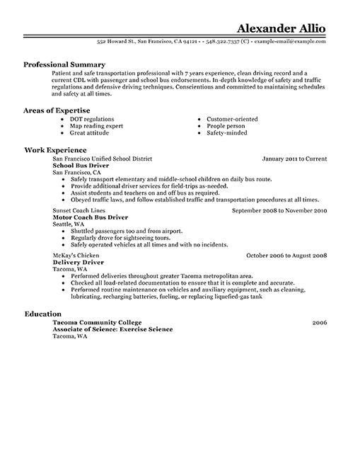 shuttle driver resume sample