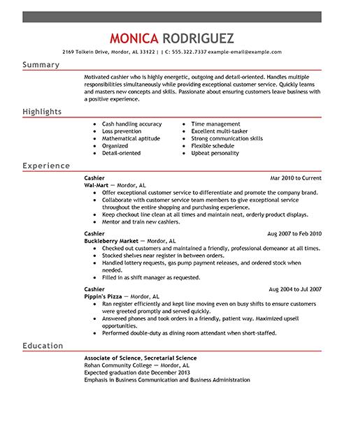 cashier resume  free download  printable templates lab